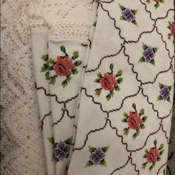 Cross stitched table cloth! Handmade